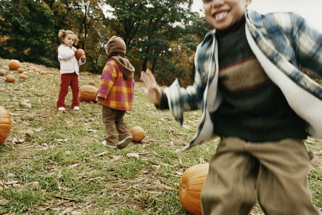 Three Children Playing in a Field With Pumpkins