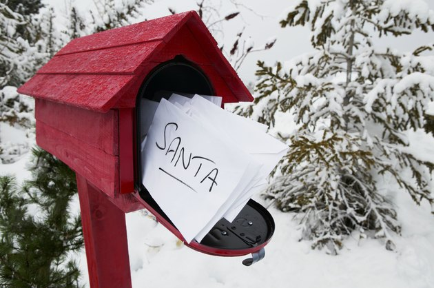 Red Post Box Containing Letters to Santa