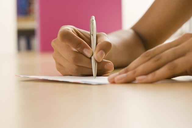 Hand writing on envelope
