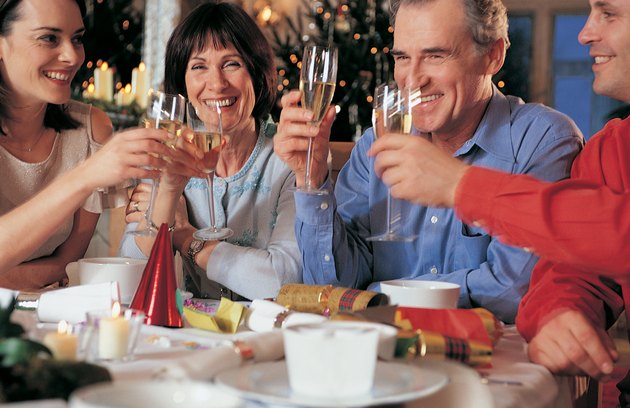 Four People Making a Toast at Christmas