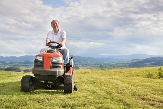 Man riding a lawn tractor