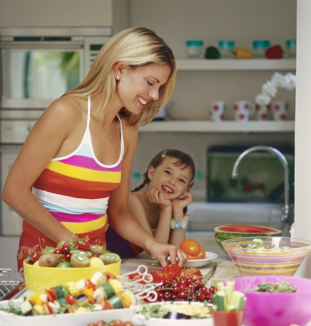 Mother With Her Daughter Preparing Food in a Kitchen