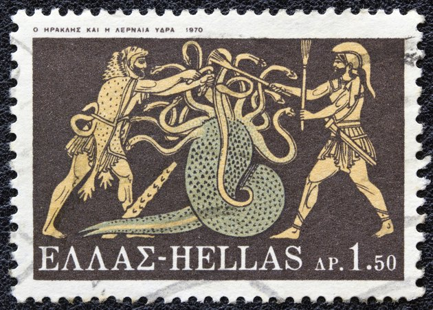Greek stamp shows Hercules killing Lernaean Hydra (1970)