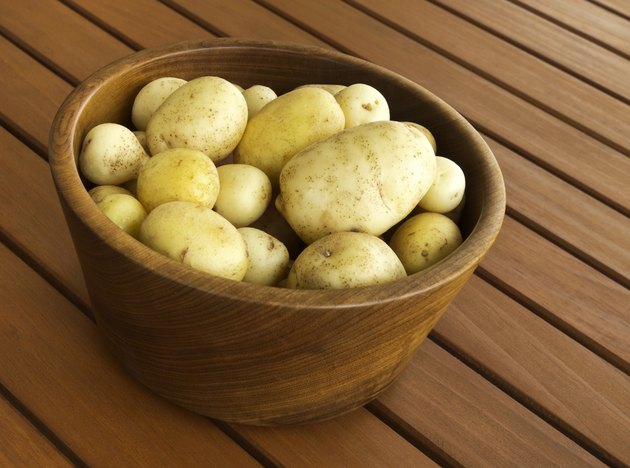 Potatoes in Wooden Bowl