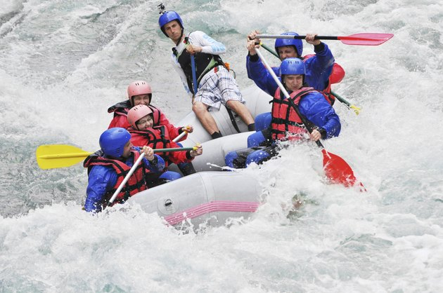 Rafting as extreme and fun sport, splashing the white water