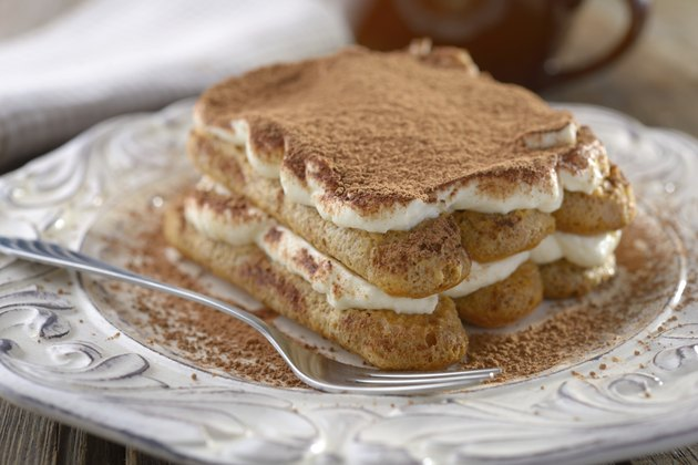 Tiramisu on a plate, Closeup view