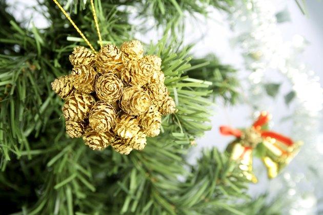 Close up shot of pine on Christmas tree