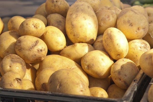Closeup of russet potatoes.