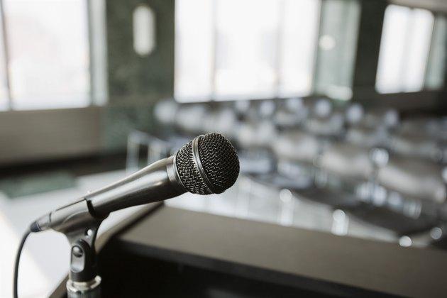 Microphone on podium