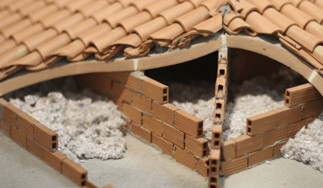 Attic insulation with the material