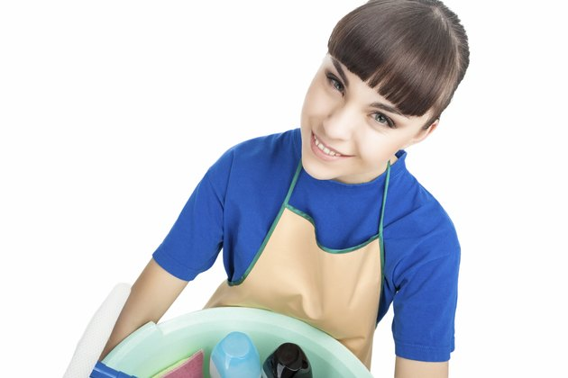 Portrait of Smiling Caucasian Cleaner Woman