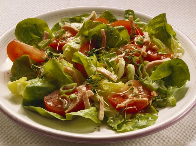 Mixed Green Salad with Ham Strips