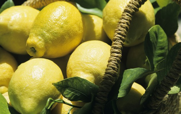 Lemons in basket, Murcia, Spain, close-up