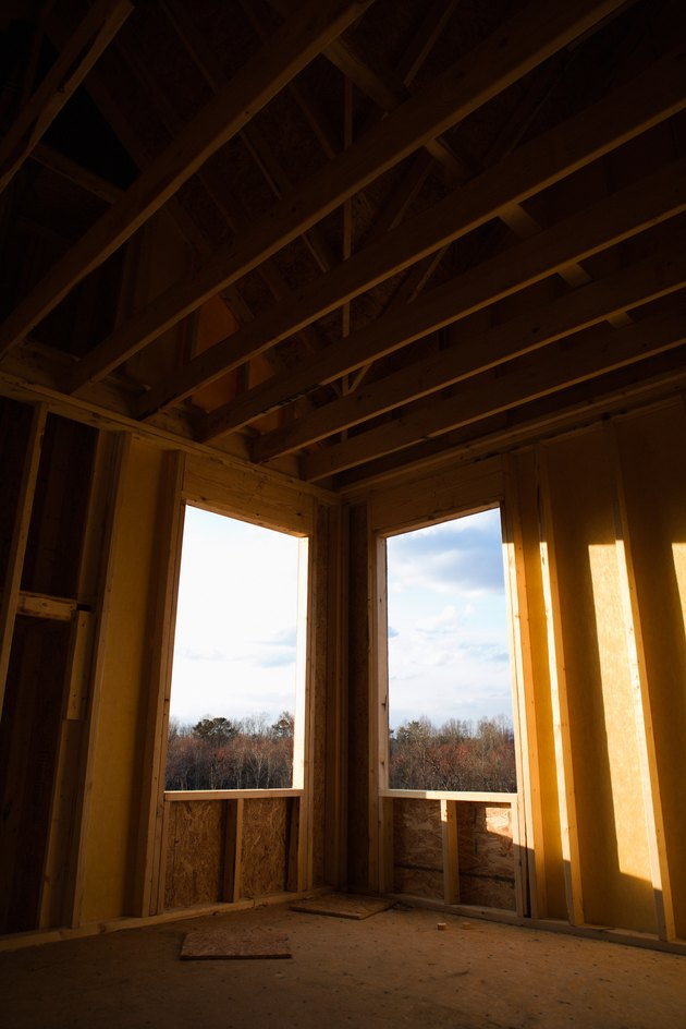 Windows of house under construction