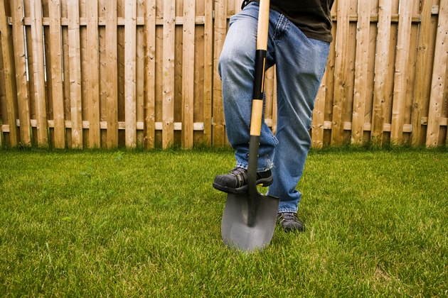 Man with shovel digging in yard with fence