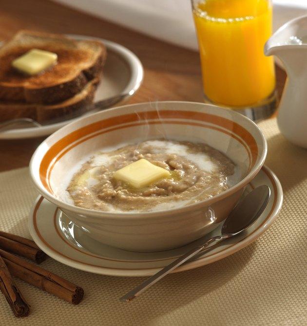 Oatmeal, toast and orange juice