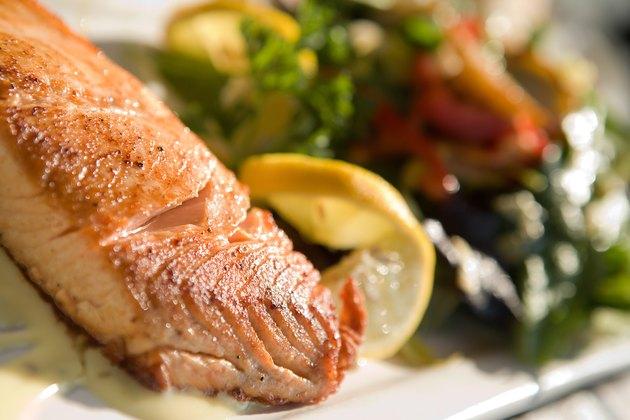 Plate of seafood and salad