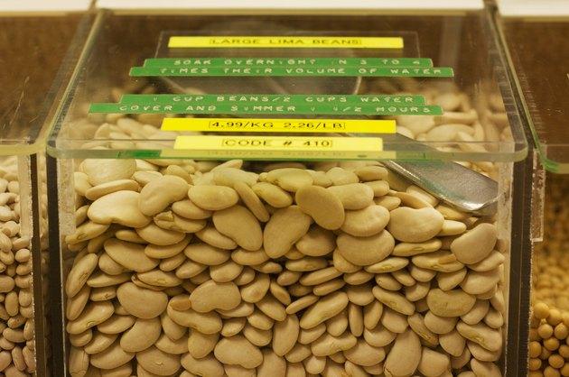 Plastic bulk bin with large lima beans