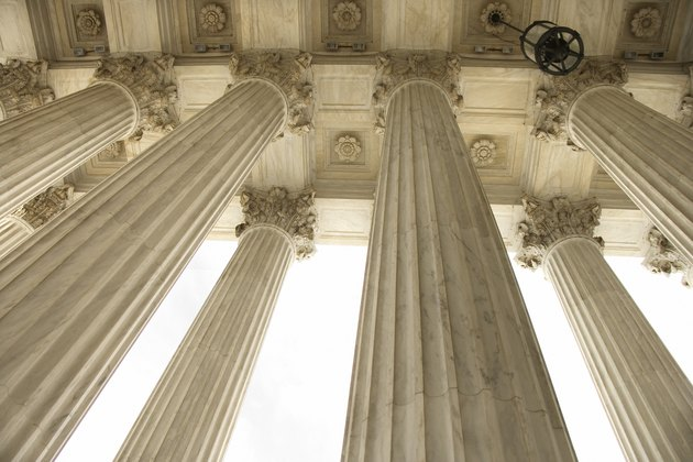 Looking up at columns