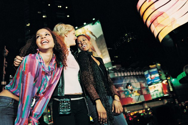 Female Friends in a City at Night