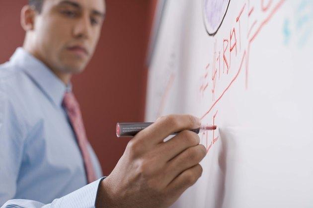 Businessman writing on board