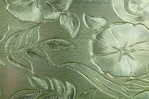 Flowers etched in glass