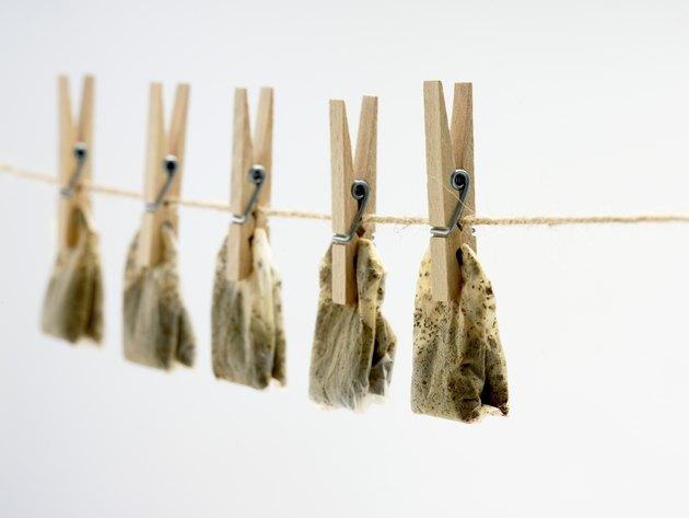Tea bags drying on clothesline