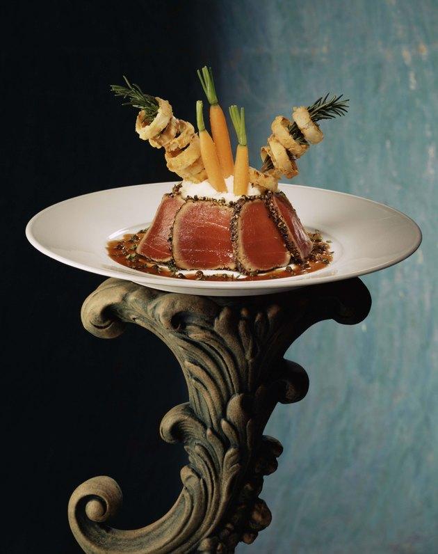 Fancy seared tuna dish on pedestal