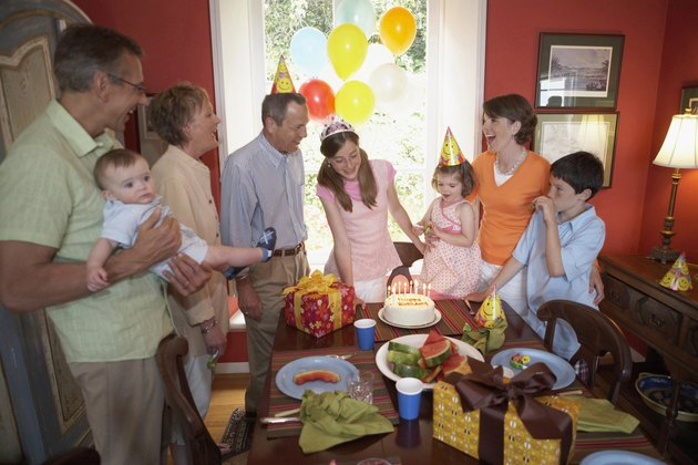 Family at a birthday party