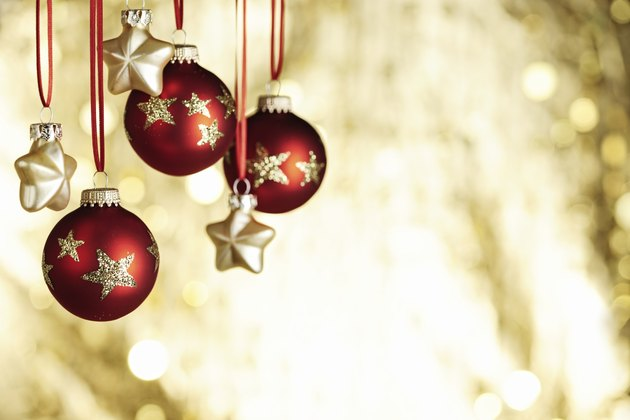Christmas baubels and copyspace