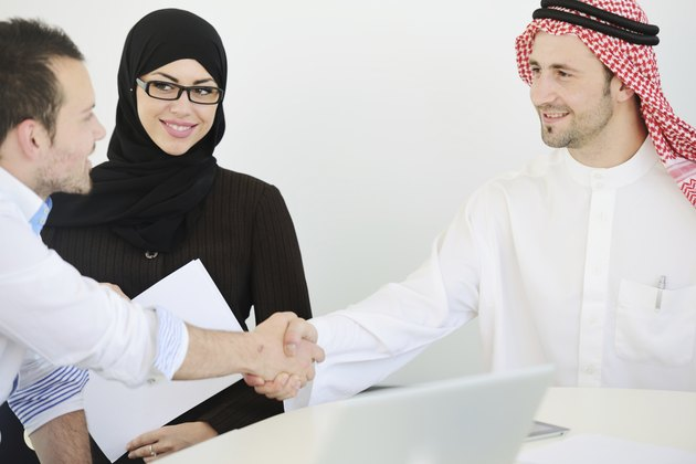 Middle eastern people having a business meeting at office