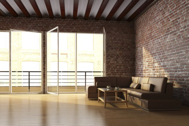 Loft with brick wall