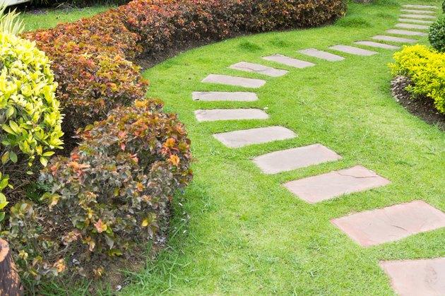 Stone footpath in lawn field.