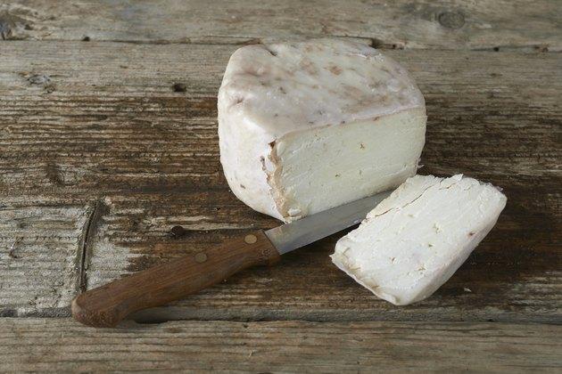 fresh feta cheese just cut with knife
