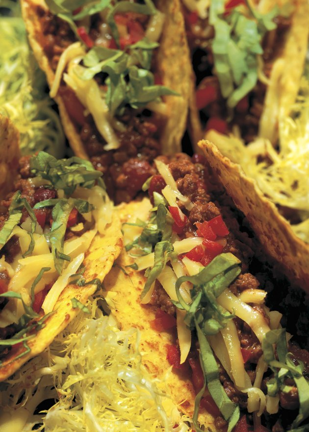 close-up of a platter of tacos