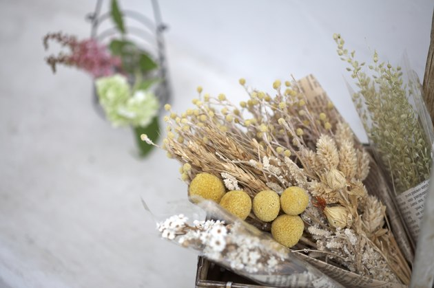 Dried flowers in basket, close-up