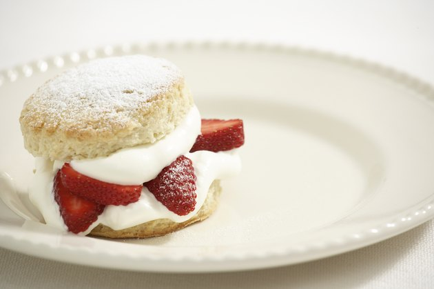 Strawberries and cream on scone