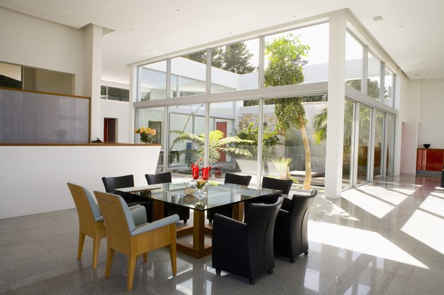 Modern dining room and atrium