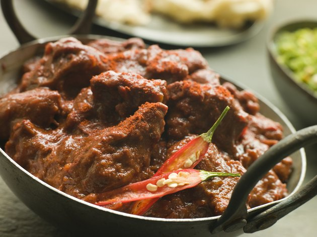 Meat Phall in Karahi with Naan and Green Chilli Curry