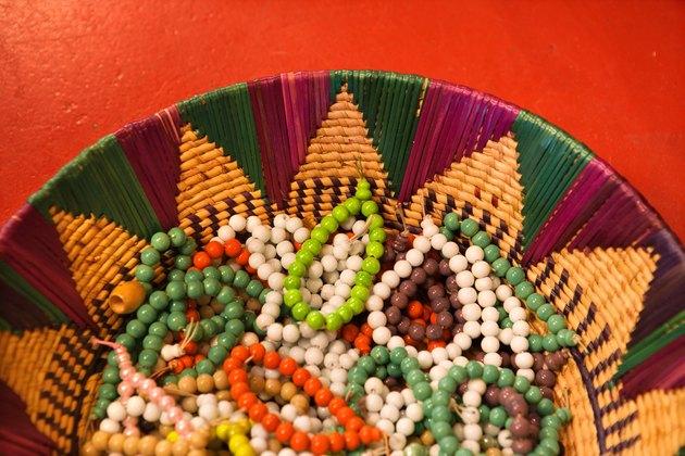 Basket of beaded bracelets