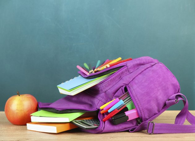 Purple backpack with school supplies on table of desk background