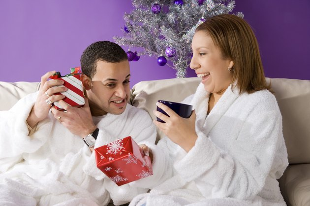 Couple with presents on Christmas morning