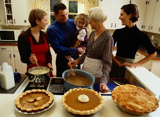Family Preparing Thanksgiving Dinner