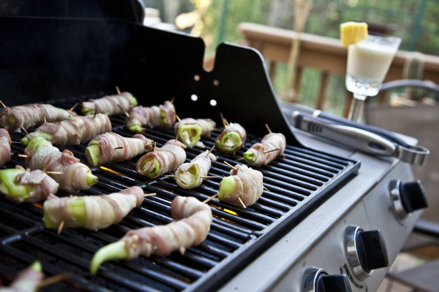 Grilled Bacon Wrapped Banana Peppers