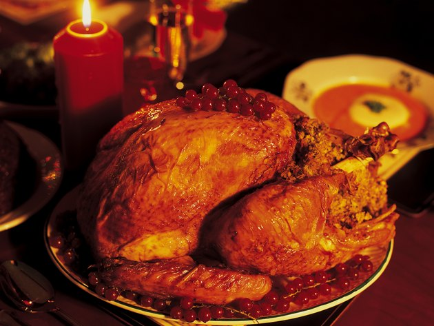 high angle close-up of a Christmas turkey served on a table