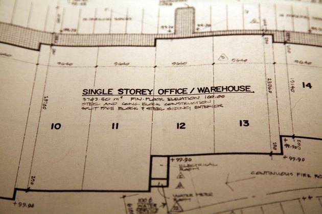 Blueprints for single story office/warehouse