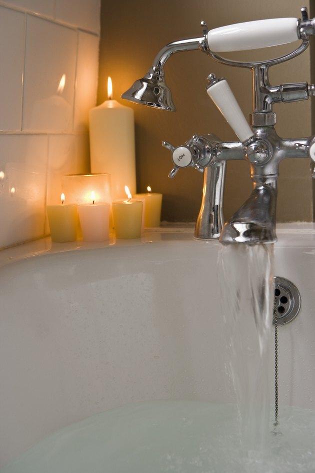 Candles by bathtub