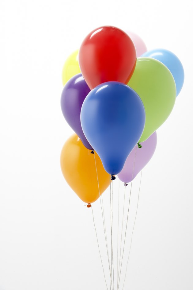 Colorful Party Balloons Against White Background
