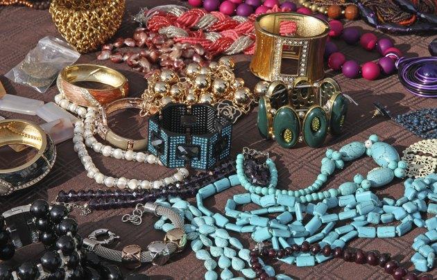 Jewelry necklaces and vintage bracelets for sale at flea market