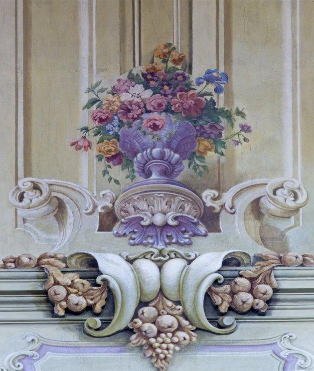 Jasov - Fresco of baroque bouquet